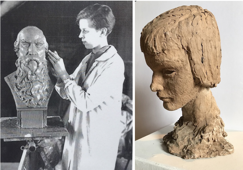 Rebecca Field Jones sculpted educator Henry Barnard in her studio at the West Hartford Art League. The sculpture on the right is also hers, and may be a self-portrait. Source: West Hartford Art League.